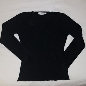 black cotton sweater criss cross neckline OS NWT!